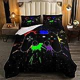 Juego de edredón Galaxy Tie Dye, juegos de video, diseño de cielo estrellado, cama doble, decoración de habitación de juegos para niños, edredón acolchado para jugadores, juego de cama de 3 piezas