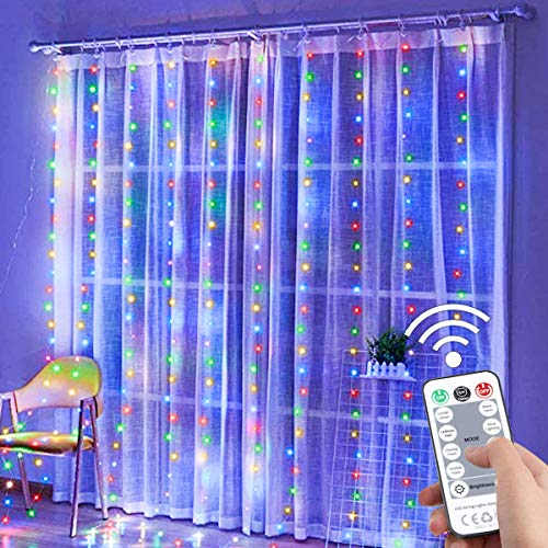 JIANNZT Curtain String Lights, 3m x 3m 300 LED Fairy Lights with Remote 8 Modes 10 Hooks, IP65 Waterproof Colorful Window Fairy Curtain Lights for Bedroom Outdoor Wedding Party Garden Decoration