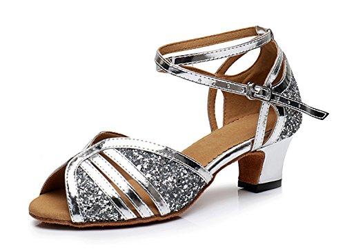 Honeystore Neuheiten Frauen's Pailletten Heels Absatzschuhe Moderne Latein-Schuhe mit Knöchelriemen Tanzschuhe LD204 Silber 33 CN