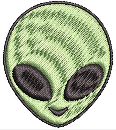Iron on/Sew On Patch Green Cartoon Alien Head Icon Embroidered Design (Iron On Back, Small (2.603' Wide x 3' Tall))