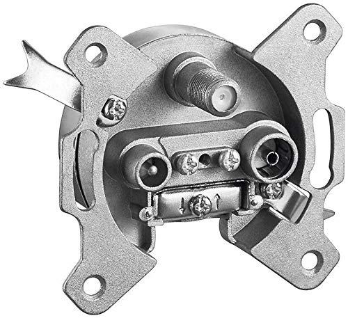 1aTTack.de 1 x Antennendose Satdose Sat Kabel Dose 2-Fach 2-Loch Steckdose Durchgangsdose 10 dB mit DC Durchgang