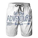 HOOTDYA Men Let The Adventure Begin Summer Swim Trunk Board Short Beach ShortsL