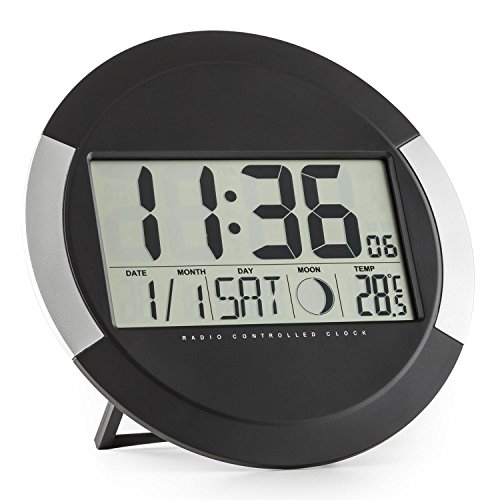 oneConcept Clockwork Uhr Digitaluhr Funk-Wanduhr (LCD-Display, Thermometer, Kalender, Mondphase, Standaufstellung oder Wandmontage, batteriebetrieben) schwarz-silber