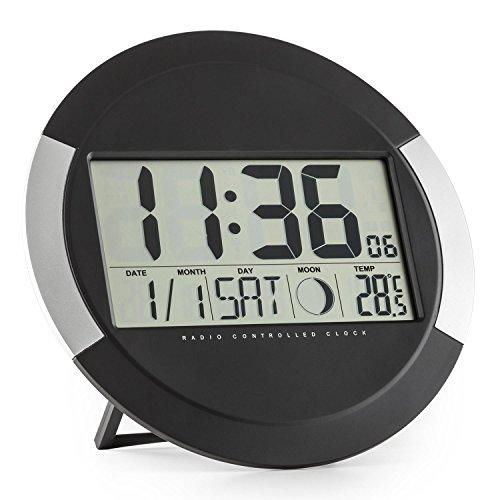 oneConcept Clockwork Uhr Digitaluhr Funk-Wanduhr (LCD-Display, Thermometer, Kalender, Mondphase, Standaufstellung oder Wandmontage, batteriebetrieben) schwarz-silber