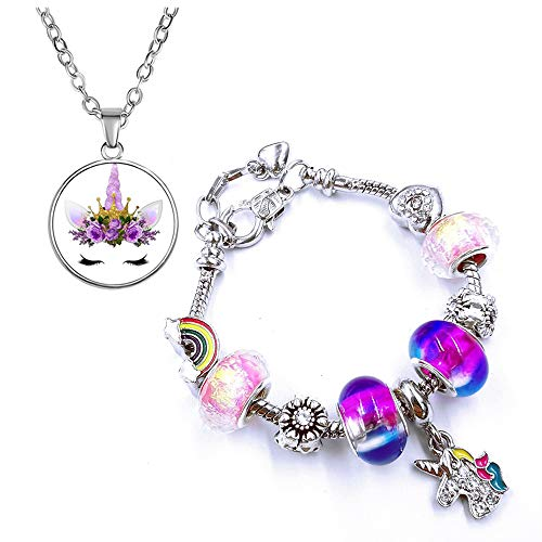 Yiran Girls Magical Unicorn Bracelet Necklace Set Sparkly Crystal Charm Rhinestones Jewellery with Gift Box Greeting Card For Girls Play Pretend Dress Up, Nice Gifts For Christmas Birthday