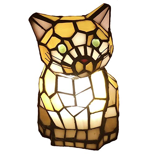 Bieye L10211 8 Inch Cute Cat Waits for Someone to Play with Tiffany Style Stained Glass Accent Table...