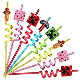 25 Reusable Pixel Straws for Miner Crafting Party Supplies Favors, Pixel Spider Creepah Party Supplies Gift with 2 Cleaning Brushes