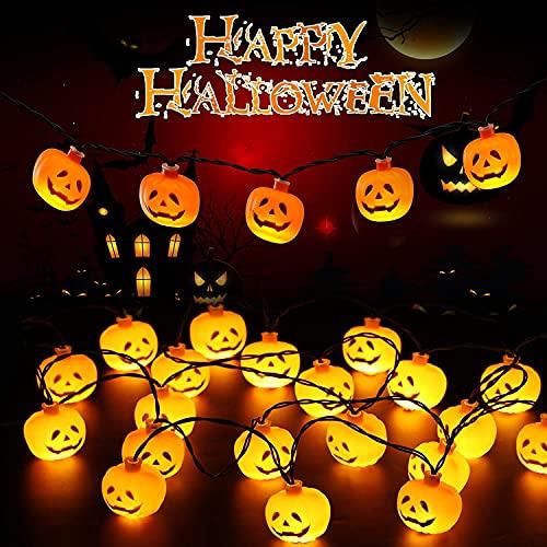Guirnalda de luces para decoración de Halloween,LED decoraciones de Halloween para fiestas en interiores y exteriores, funciona con pilas, IP44 impermeables (Calabaza, 3m, 20LED)