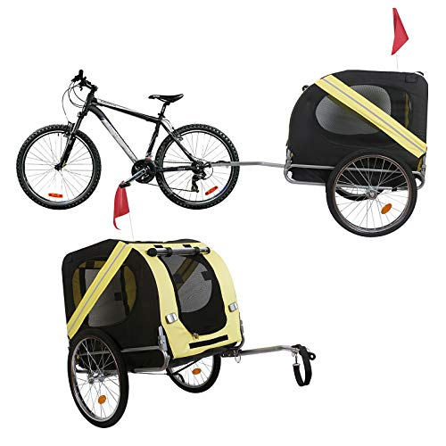 Hunde Fahrradanhänger mit Sicherheitsdrehkupplung, Fliegengitter & Regenschutz, schwarz gelb