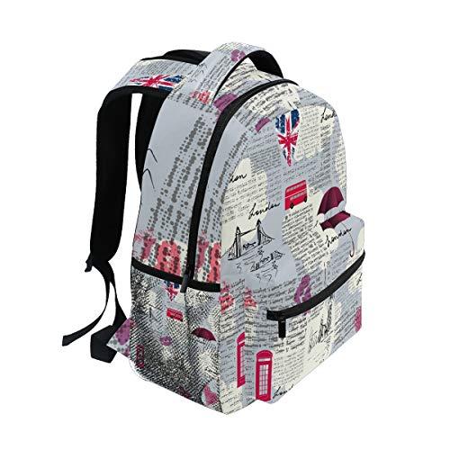 Mnsruu Rucksack, Union Jack, britische Flagge, Tagesrucksack, College, Schule, Reisen, Schultertasche