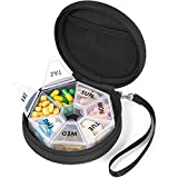 Portable Pill Case with Zippered Bag, Gelibo Large Seven Day Pill Organizer,Pill Box for Vitamin/Fish Oil/Pills/Supplements Medicine Case