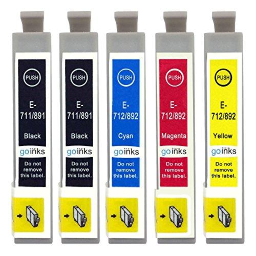 Go Inks  E-T0715/711-SET-1, Cartucce d'inchiostro, Confezione da 5 Inchiostri (2 x Nero, 1 x Ciano, 1 x Magenta, 1 x Giallo)