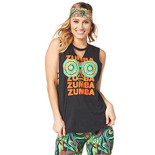 Zumba Loses Schwarzes Sportbekleidung Damen mit Grafikdruck Trainingsoberteile