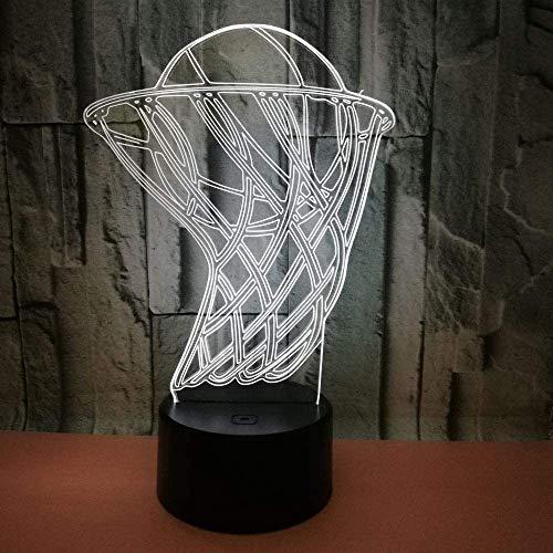 Nachtlichtspielzeug Illusionslampe Basketballkorb 3D-Lichter Bunte Berührung 3D Visual Led Nachtlicht Sportgeschenke 3D Kleine Tischlampe