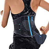 T TIMTAKBO Lower Back Brace W/Removable Lumbar Pad for Men Women Herniated Disc,Sciatica,Scoliosis,Waist Pain Relief Lumbar Support Belt (Gray/Blue, L/XL)