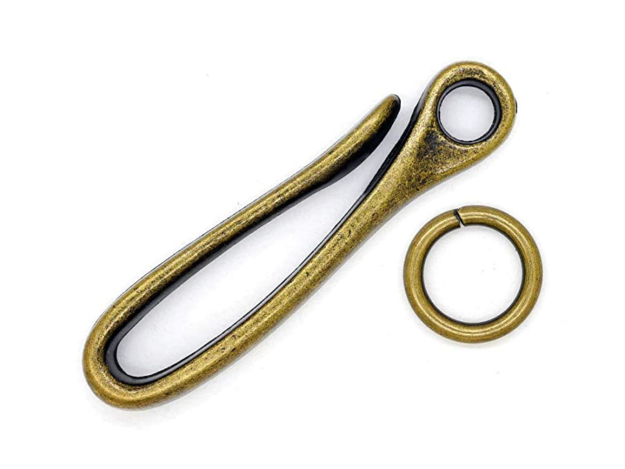 CRAFTMEmore 2 pcs 70X16 MM Wallet Japanese Alloy Fish Hook Keychain Holder Belt Clip Leathercraft Accessories (Antique Brass (TL))