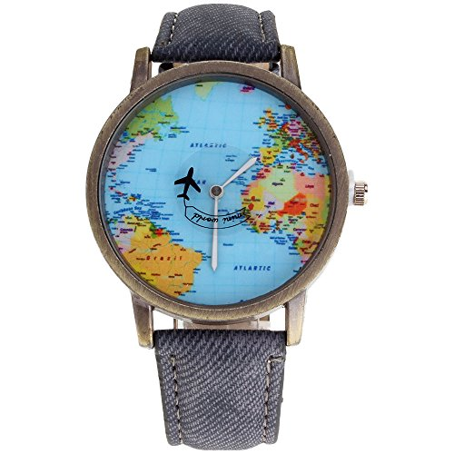 MMRM Mini Weltkarte Flugzeug elektronische Armbanduhr Denim-Lederband Uhr für Herren (grau)
