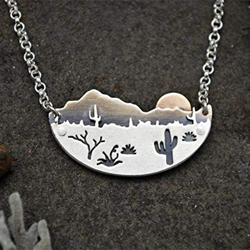 N/A Necklace pendant Desert Sun Necklace Silver Color Arizona Saguaro Cactus Landscape Chain Pendant Necklaces for Women Female Party Jewelry Christmas birthday Gift