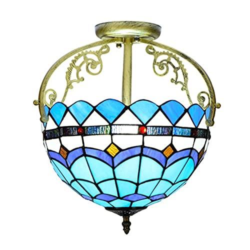 Lámpara de techo con vitrales mediterráneos, luces colgantes de hierro forjado estilo tiffany de 12 pulgadas, cocina, sala de estar, lámpara de pasillo de 2 luces, e26 e27, sin Bombillas,C