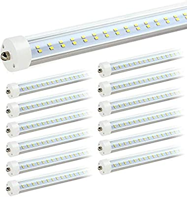 """JESLED T8/T10/T12 8FT LED Tube Light, Single Pin FA8 Base, 50W 6000LM, 5000K Daylight, JESLED 96"""" Dual Row LED Fluorescent Bulbs (130W Replacement), Clear Cover, Dual-Ended Power (Ballast Removal)"""