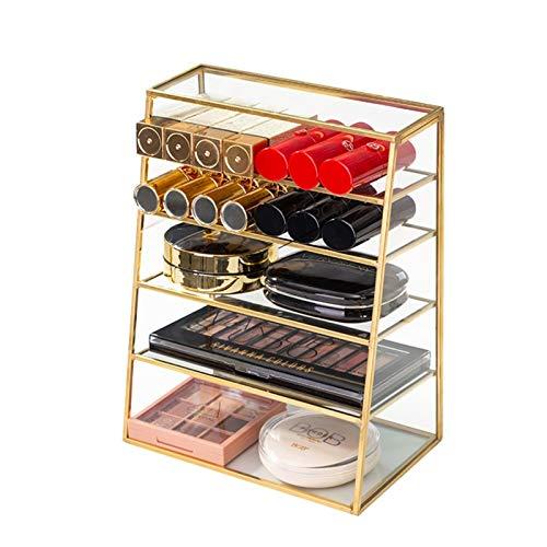 Organizador de maquillaje de vidrio de 6 niveles, estantes de mesa, soporte de almacenamiento de cosméticos, soporte de exhibición de encimera de oro antiguo para aretes, uñas, collares, anillos, joya