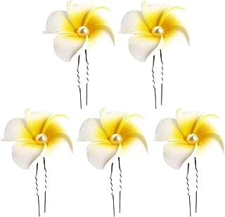 Lurrose 5 Pcs Plumeria Hair Pins Hawaiian Beach Party Flower Hair Accessories for Women (4.5CM Yellow)