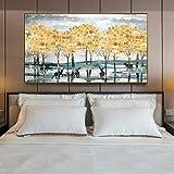 KWzEQ Paisaje de Oro Abstracto Moderno árbol de Dinero y Ciervos Cuadro Lienzo Pintura Sala de Estar decoración del hogar,Pintura sin Marco,30x45cm