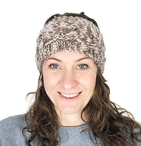 Pamper Yourself Now Braun/creme gemischten farbige Wolle, maschinenStrick StirnBand. Warme Winterstirnband. (Brown/cream mixed coloured woollen machine knitted headband. Warm winter headband)