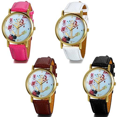 JewelryWe 4pcs Damen Armbanduhr, Klassisch Retro Casual Analog Quarz Leder Armband Uhr mit Basel-Stil Rose Blumen Anker Zifferblatt, 4 Farben