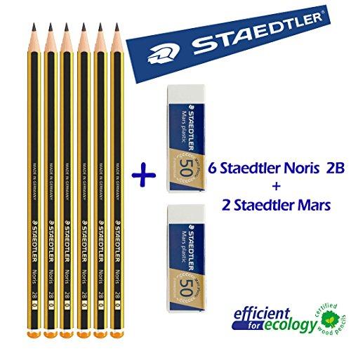 Staedtler Noris 120 2B - Matita in graffite - Set da 6 matite + 2 Gomme da cancellare Mars plastic Staedtler