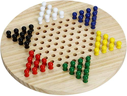 Silly Goose Games Wooden Chinese Checkers | Natural Wooden Board Game | Includes 60 Traditional Pegs Game for Adults Boys and Girls in 6 Colors for Up to Six Players | All Ages Classic