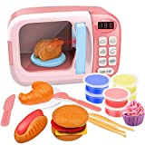 GrowthPic Kitchen Toy Microwave for Kids Electronic Pretend Play Oven Toy Play Set with Play Food and Play Dough for Toddler Boys and Girls 2 3 4 5 6 Years Old - Pink