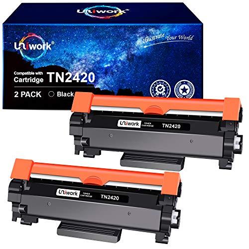 2 Uniwork TN2420 TN-2420 Cartucce di Toner Compatibile per Brother TN-2420 TN2410 per Brother MFC-L2710DW L2710DN L2730DW L2750DW, HL-L2310D L2350DW L2375DW L2370DN, DCP-L2510D L2530DW (Con Chip)