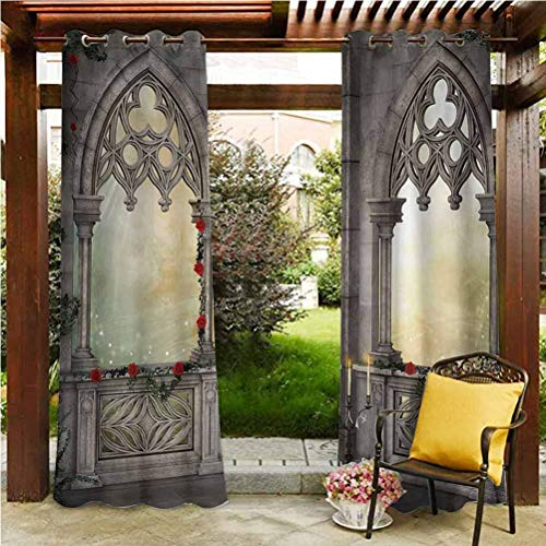 Gothic Outdoor Polyester Drapes Outdoor Patio Scattering Shading Reflection Vintage Style Ottoman Palace Balcony for Sultans with Red Rose Flowers Ivy Terrace Image Beige 96'W by 84'L(K245cm x G214cm)