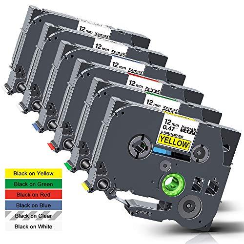 Xemax Compatibile Nastro 12mm x 8m Sostituzione per Brother P-Touch Tze-131 Tze-231 Tze-431 Tze-531 Tze-631 Tze-731 Laminato Cassette per PT-D210VP PT-H101C PT-1010 PT-P750W PT-H100P PT-D450, 6 Pacco