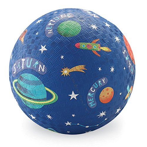 """Crocodile Creek - Solar System Rubber Playground Ball - Ships Inflated, PVC-Free, Durable Design for Outdoor Games, 4 Square, Kickball and Active Sports, for Kids Ages 3 Years and Up, 7"""" Size, Blue"""
