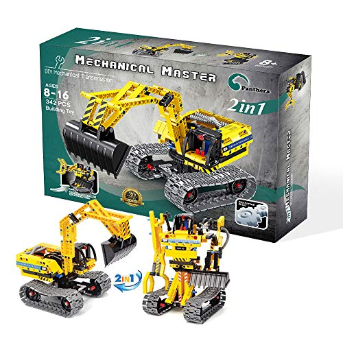 Panthera Excavator Toy with Kids Tool Set - Take Apart 2 in1 Excavator Kit and Robot for Kids – Toy Excavator for 8 to 16-Year-Old Boys & Girls - Educational STEM Birthday Gifts for Kids