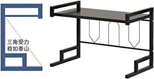 2 Tier Microwave Stand, Kitchen Countertop Shelving Microwave Oven Rack with Spice Rack Organizer,Black