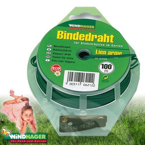 Windhager Gartendraht Blumendraht Bindedraht Pflanzendraht Basteldraht Wickeldraht plastifiziert, mit Abschneidevorrichtung, verzinkt, 100m x Ø 0,65mm, 06212