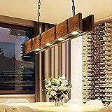 LED Massivholz Pendellampe Vintage Hängeleuchte 4*LED Beleuchtung Pendelleuchten Höhenverstellbarer Hängelampe Esstischlampe Wohnzimmer Cafe Bar Küche hängeleuchte