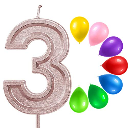 ZWeihua Glitter 3 Birthday Candle, Number 3 Candle for Birthday Cake, Number Candle with Colorful Balloons Together for Cake Topper Decoration for Boys Girl Kids Adults Birthday Party