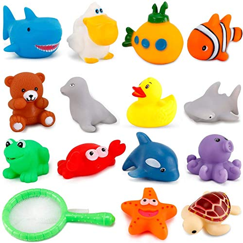 Liberty Imports 15 PCS Water Bath Squirties - Fun Floating Squeeze and Squirt Bathtub Squirters - Ideal Toys for Kids  Babies  Toddlers Bathtime (Ocean Animals)