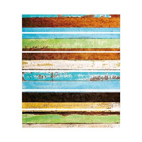 Njuyd - Lote de 6 adhesivos decorativos para suelo de madera, diseño de baldosas, para decoración de baño, cocina, resistente al agua