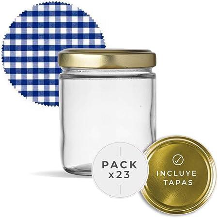 Bocaux en verre avec couvercles pour conserves. Lot de flacons hermétiques de 445 ml avec couvercle à vis et couvercles fermés hermétiques pour tout type de conserve. (23 unités)