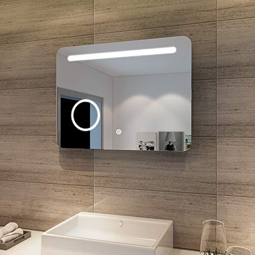 SONNI Badspiegel mit Beleuchtung 80x60cm LED Badezimmerspiegel mit Schminkspiegel Energiesparend Badezimmer Wandspiegel Beschlagfrei Bad Spiegel mit Touch Schalter