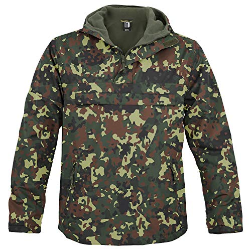 BW-ONLINE-SHOP Hooded Windbreaker mit Fleecefutter Flecktarn - L