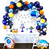 JOYYPOP Outer Space Balloon Garland Kit 109pcs Outer Space Party Decorations with UFO Rocket Astronaut Balloons Sparkling Star Garland for Space Themed Birthday Party Supplies