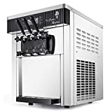 VEVOR 2200W Commercial Soft Ice Cream Machine 3 Flavors 5.3-7.4Gallons/H Auto Clean LED Panel Perfect for Restaurants Snack Bar supermarkets, 2200W, Sliver/Desktop