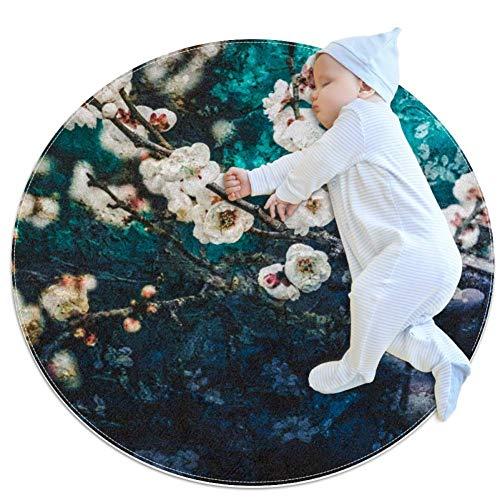 Blauw Tuin Bloemen Grote baby tapijt, kleuterschool kinderen ronde warme zachte mat vloerbedekking, antislip kinderen Peuter slaapkamer