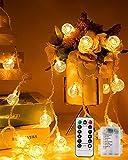 Guirnalda Luces Pilas, 10M 80LED Luces Decorativas Habitacion con remoto Bola de cristal impermeable decorativa Interior al aire libre para dormitorio Navidad Jardín Decking Patio(blanco cálido)